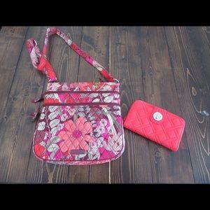 Vera Bradley triple zip tote wallet